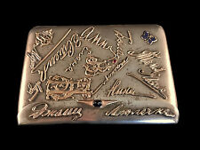 Imperial Russian Silver Cigarette Case With Gold Signatures & Monograms