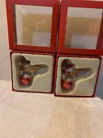 Seasons Of Cannon Falls-Red Cardinal Blingle Bell Christmas Ornament Lot (2)