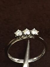 0.30 Cts Natural Diamonds Three-Stone Ring In Solid Certified 18Karat White Gold