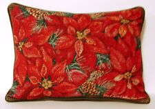 Christmas - Red Poinsettias, Pine Cones,The Edith Collection Tapestry Pillow New