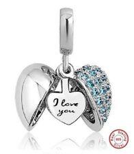 Pandora 'I Love You' Heart Charm Bracelet Bead S925 Sterling Silver Aqua Stone