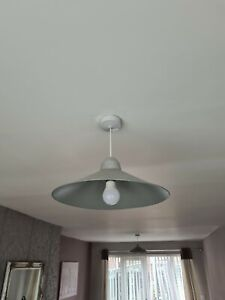 2 x Silver Metal Ceiling Lampshades - Used