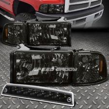 SMOKE HEADLIGHT+AMBER CORNER+BLACK LED 3RD BRAKE&CARGO LIGHT FOR 94-02 DODGE RAM
