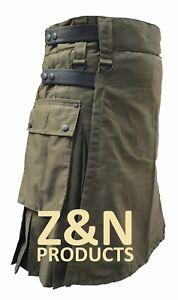 Men Olive/Green with Black Leather Straps Fashion Sport Utility Kilt, Adjustable