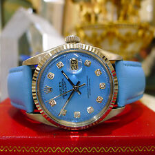 MENS ROLEX OYSTER PERPETUAL DATEJUST STAINLESS STEEL & GOLD BLUE FACE WATCH