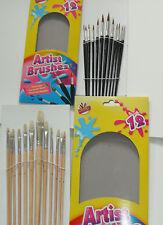 12 LARGE ARTIST PAINT BRUSH SET Long Wooden Handles +12 Art Brushes premium.