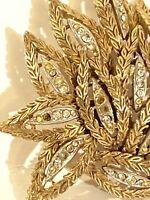 Vintage rare rhinestone Gold Tone ornate Lotus style Flower Brooch Pin