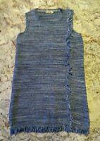 Anthropologie Holding Horses Sweater Dress Large Blue Sleeveless Fringe