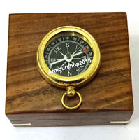 Vintage antique brass compass maritime star sundial compass and wooden box