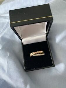 Vintage 14 K Gold Russian Wedding Style  three Band Ring. 6.2grams, Size P