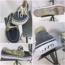 J75 Boat Shoes Sz 9 Men Blue Tan Canvas Lace Worn Once YGI F7