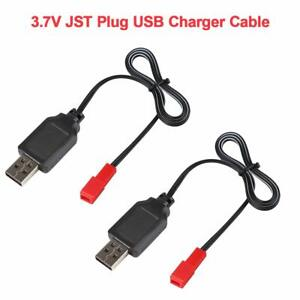 2PCS 3.7V Lipo Battery USB Charger Cable JST Plug for RC Car Quadcopter Battery