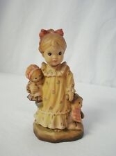 "Anri Sarah Kay 4"" Nightie Night Carved Wood Bedtime Girl Figure Teddy Bear Doll"