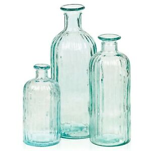 Natural Living Recycled Glass Clear Bottle Decorative Vase 3 Sizes 0.7L1.5L 2.5L