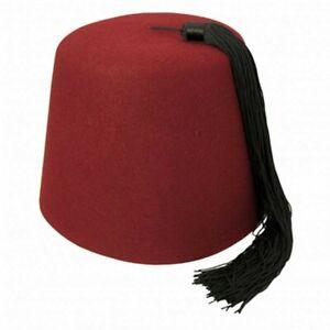 Village Hat Shop Maroon Fez with Black Tassel