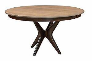 Amish Mid-Century Modern Round Dining Table Newton Solid Wood Furniture