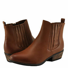 Women's Shoes Bamboo Sadie 01 Slip On Ankle Booties Chestnut BNH *New*