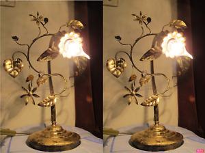 PAIR OF Antique Vintage RARE Elegant Interior design Crystal Table Lamp1970's.