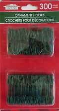 NEW 300 Christmas House Ornament Hooks Tree Hangers Metal Wire Small Size~Green