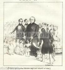 ASILI INFANTILI_INUSUALE ANTICA STAMPA_APORTI_ALLEGORIA D'EPOCA_LITO RICCIO_1844