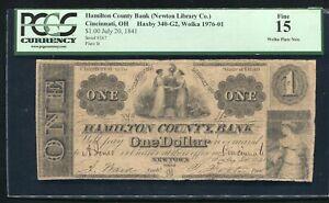 1841 $1 HAMILTON COUNTY BANK CINCINNATI, OH OBSOLETE BANKNOTE PCGS FINE-15