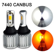 2x CANBUS 7440 Switchback LED Bulb Extremely Bright DRL 30W COB Dual Amber White