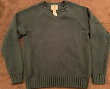 Nwt Boys Lands End Green School Uniform Vneck Cable Knit Sweater Large Size 7