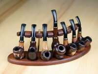 Pipe Stand Rack Hold Display For 7 Smoking Pipes Holder Stand Wooden Tobacco New