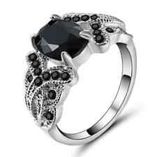 Size 7 Black Sapphire Ring 10KT White Gold Filled Wedding Party Jewelry
