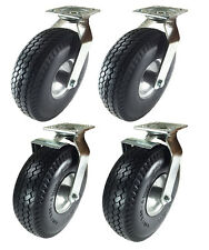 "10"" x 3-1/2"" Pneumatic Wheel Caster(Foam-Flat Free)2 Swivels & 2 Swivels w/Brake"