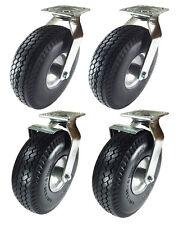 10 X 3 12 Pneumatic Wheel Casterfoam Flat Free2 Swivels Amp 2 Swivels Withbrake