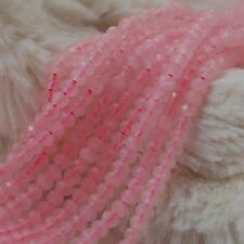 "Grade A Natural Rose Quartz Faceted Rondelle Spacer Gemstone Beads 2 x 3mm 15.5"""
