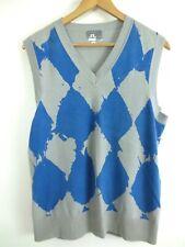 J.LINDEBERG Argyle Style Golf Blue/Grey Cotton Vest Men's Large