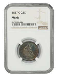 1857-O 25c NGC MS61 - Scarce O-Mint Seated Quarter - Liberty Seated Quarter