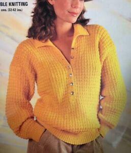 "Ladies Collared Jumper DK Size: 32""-42""  Vintage Knitting Pattern  L80"