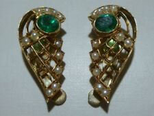 ORIENTAL SEED PEARL EMERALD 14K YELLOW GOLD WOMENS ART DECO EARRINGS 8.2 GRAMS