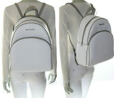 Michael Kors Abbey Jet Set Large Leather Backpack - White