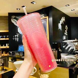 New Starbucks 2021 China Gradient Pink Glitter Studded 24oz Cup Tumbler