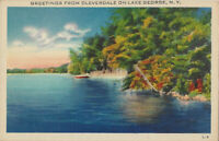 New York Greetings From Cleverdale On Lake George, N.Y. Warren County Postcard
