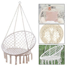 120cm Height Beige Cotton Rope & Iron Hoop Hanging Macrame Hammock Swing Chair