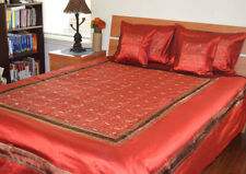 Red Color Silk Bed Cover Flat Sheet Sham Set Embroidered Full Queen from India