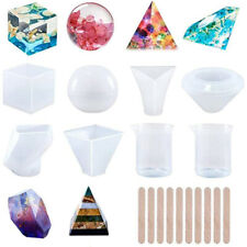 19Pc Silicone Resin Molds Epoxy Casting Coaster Soap Candles Making Resin Kits