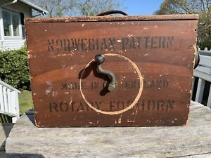 Antique FOGHORN Norwegian Pattern Rotary Foghorn / wood copper leather bellows