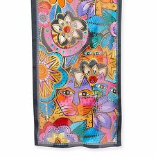Laurel Burch 100% Silk Oblong Silk Scarf Brights Laurel's Garden Floral Cats New