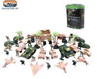 64 pcs Kombat Force Army Toy Soldier Kids Play Set Tanks Jeeps Planes Trees