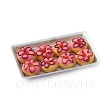 Casa De Muñecas Miniatura ROSA DONUTS EN UNA BANDEJA