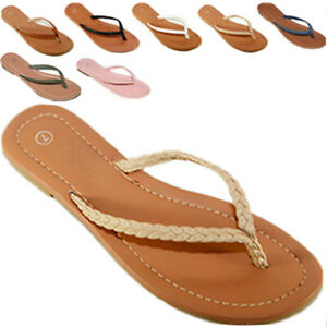 Womens Summer Comfort Casual Thong Flat Flip Flops Sandals Slipper shoes