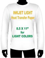 Ink Jet Heat Iron On Transfer Paper Light 85 X 11 4 Sheets