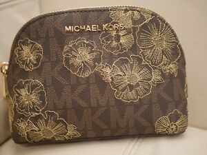 NEW W TAG Michael Kors Jet Set Large Travel Pouch/Cosmetic BROWN MK GOLD FLOWERS