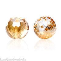 KUS 30 Glas Perlen Rund Champagner Transparent Facettiert Beads zum Basteln